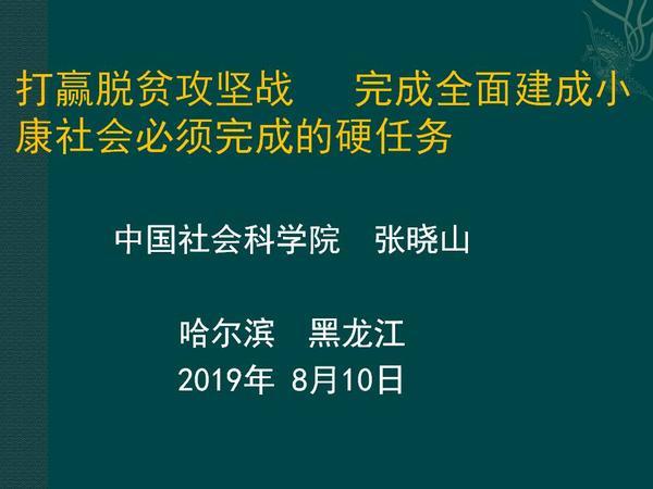 张晓山——皮书平行论坛发言(2019-8-10)